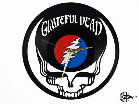Grateful Dead clock, logo, vinyl record clock ||| by Revinylit