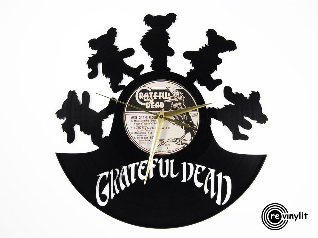 Grateful Dead vinyl record clock