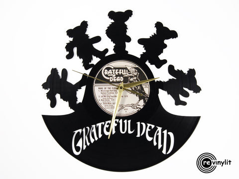 Grateful Dead clock, Bear vinyl record clock ||| by Revinylit