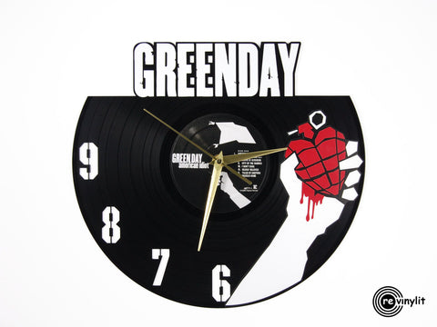Green day clock, vinyl record clock ||| by Revinylit