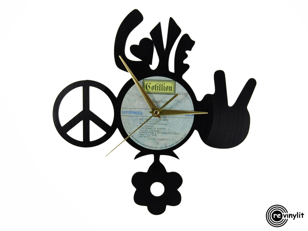 Hippie love peace vinyl record clock