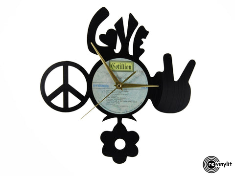 Hippie vinyl clock, vinyl record clock ||| by Revinylit