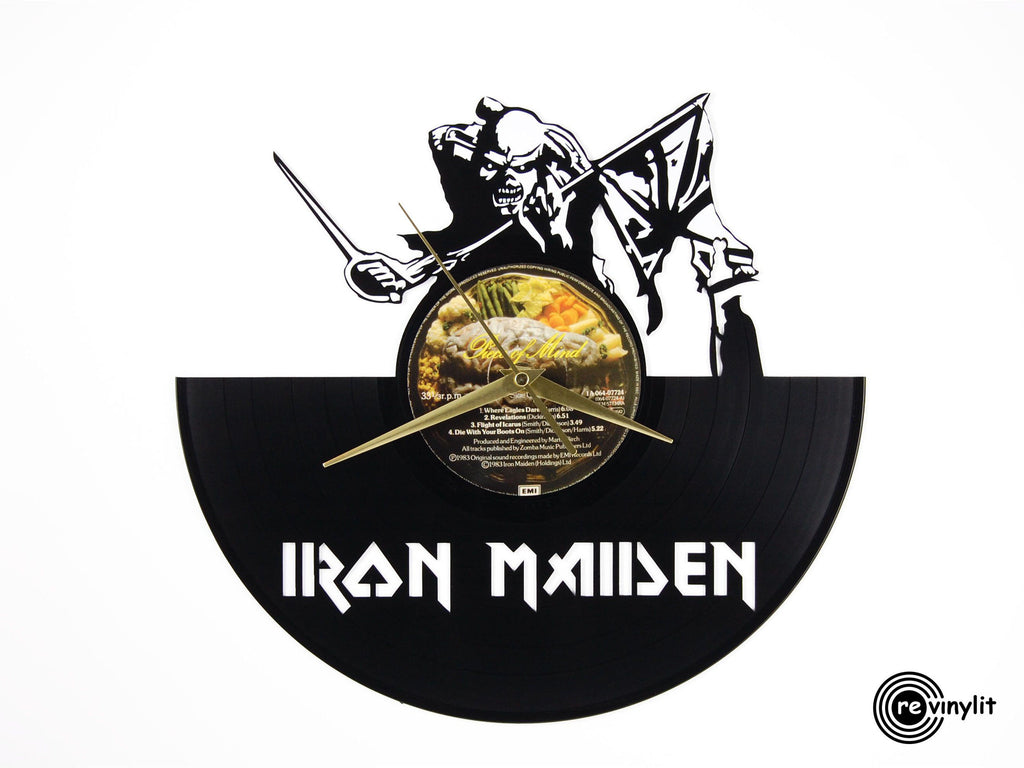 Iron Maiden vinyl record clock