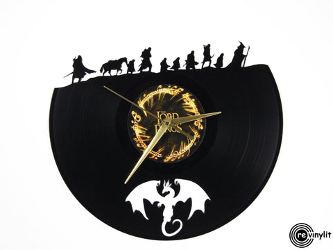 Lord of the Rings vinyl clock, vinyl record clock ||| by Revinylit