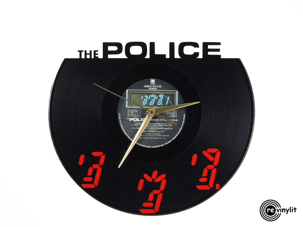 The Police vinyl record clock