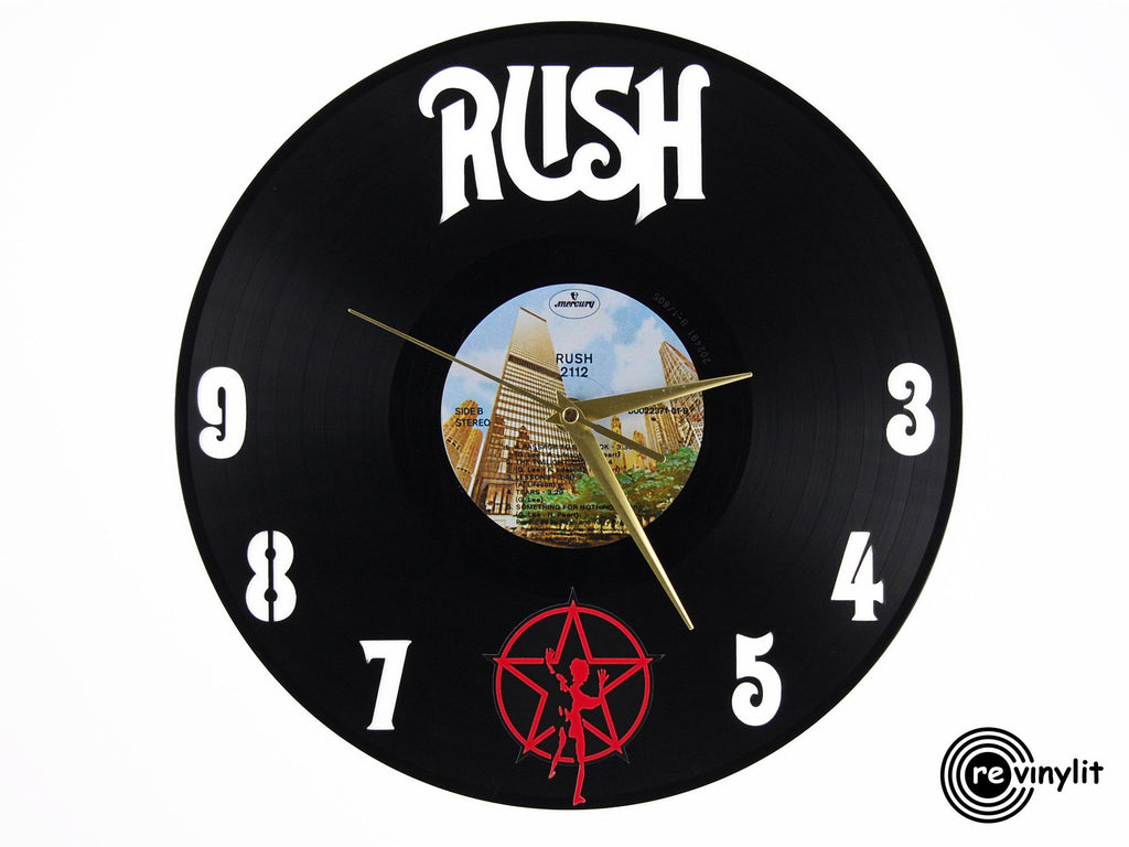 Rush vinyl record clock