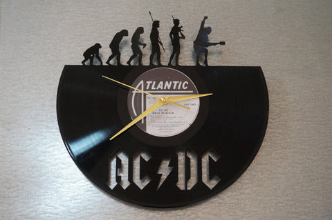 ACDC vinyl clock,  vinyl record clock ||| by Revinylit