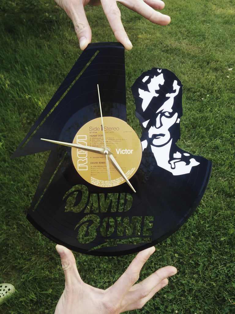 David Bowie clock, vinyl record clock ||| by Revinylit