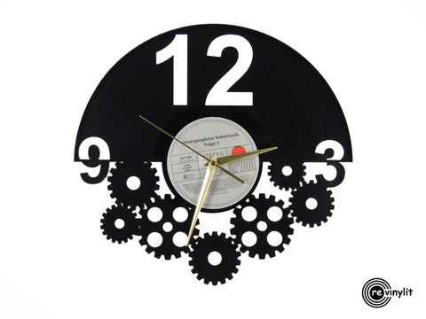 Vinyl record clock, steampunk clock ||| by Revinylit