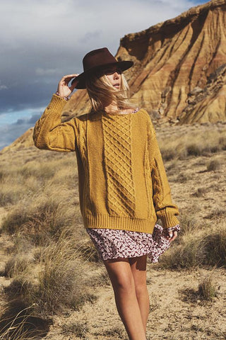 Cable Knit Jumper - Mustard