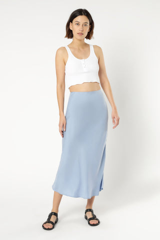 Esme Cupro Midi Skirt - Steel Blue