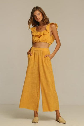 rue stiic Anza top honey ruffle crop driftlab Byron Bay Newrybar