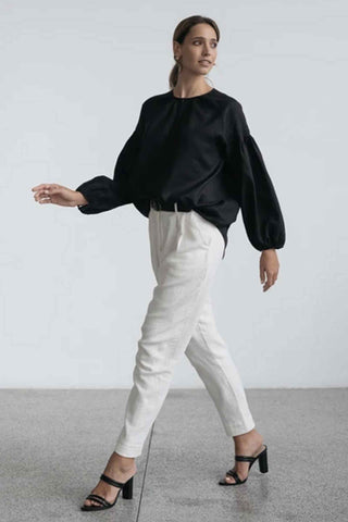 Aryele_The Label_Audrey_Linen_Pleat_Sleeve_Blouse_Black