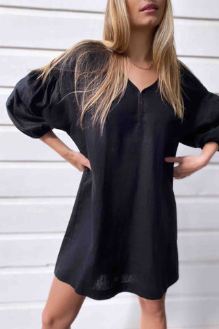 Aryele_The_Label_Nina_Pleat_Sleeve_Dress_Black
