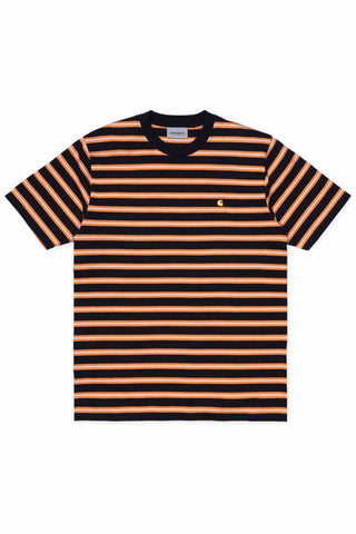 Carhartt_S/S_Oakland_T-Shirt_Stripe_Dark_Navy_Orange