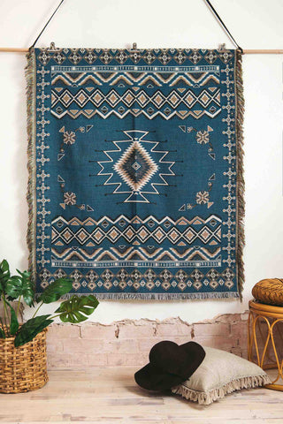 Hendeer_Let_It_Be_Woven_Picnic_Rug_Turquoise_Bohemian