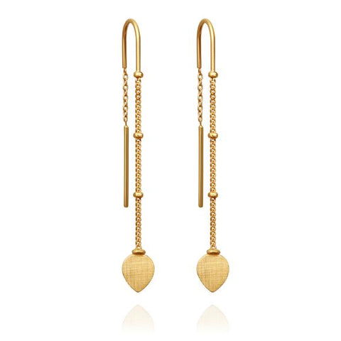 Hanging Lotus Earrings - Gold