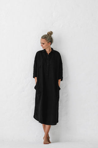 Seaside_Tones_Linen_Shirt_Dress_Black
