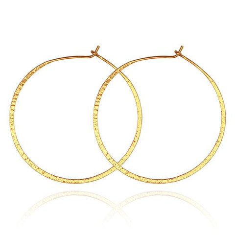 Simple Hoop Earrings Hammered Gold