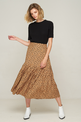 Newport Pleat Skirt Leopard