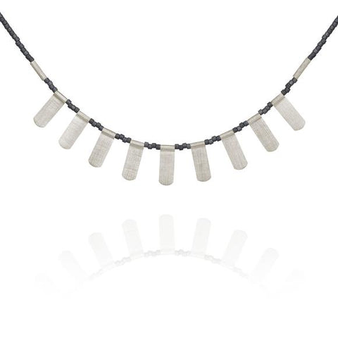 Ren Necklace Grey Seed Bead Silver