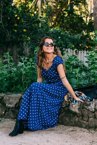Eva  Vintage Maxi Dress Navy