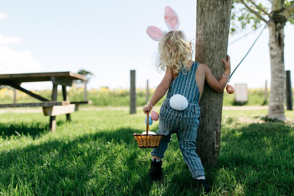 Bunny searching for eggs - slow livin overalls