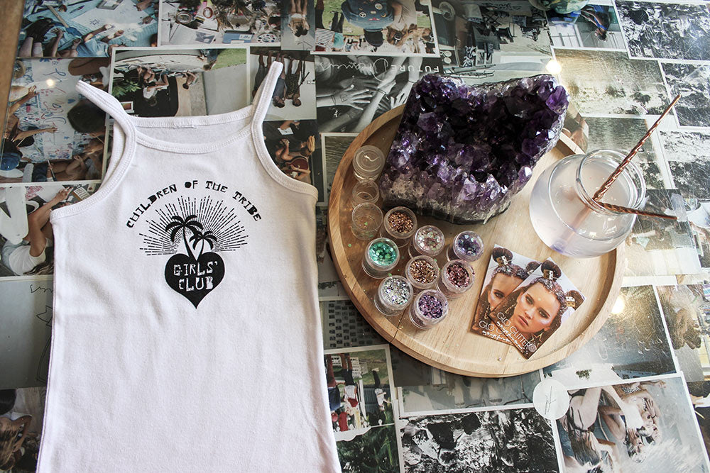 Singlet for Indigo dye workshop and treats from Glo Tatts