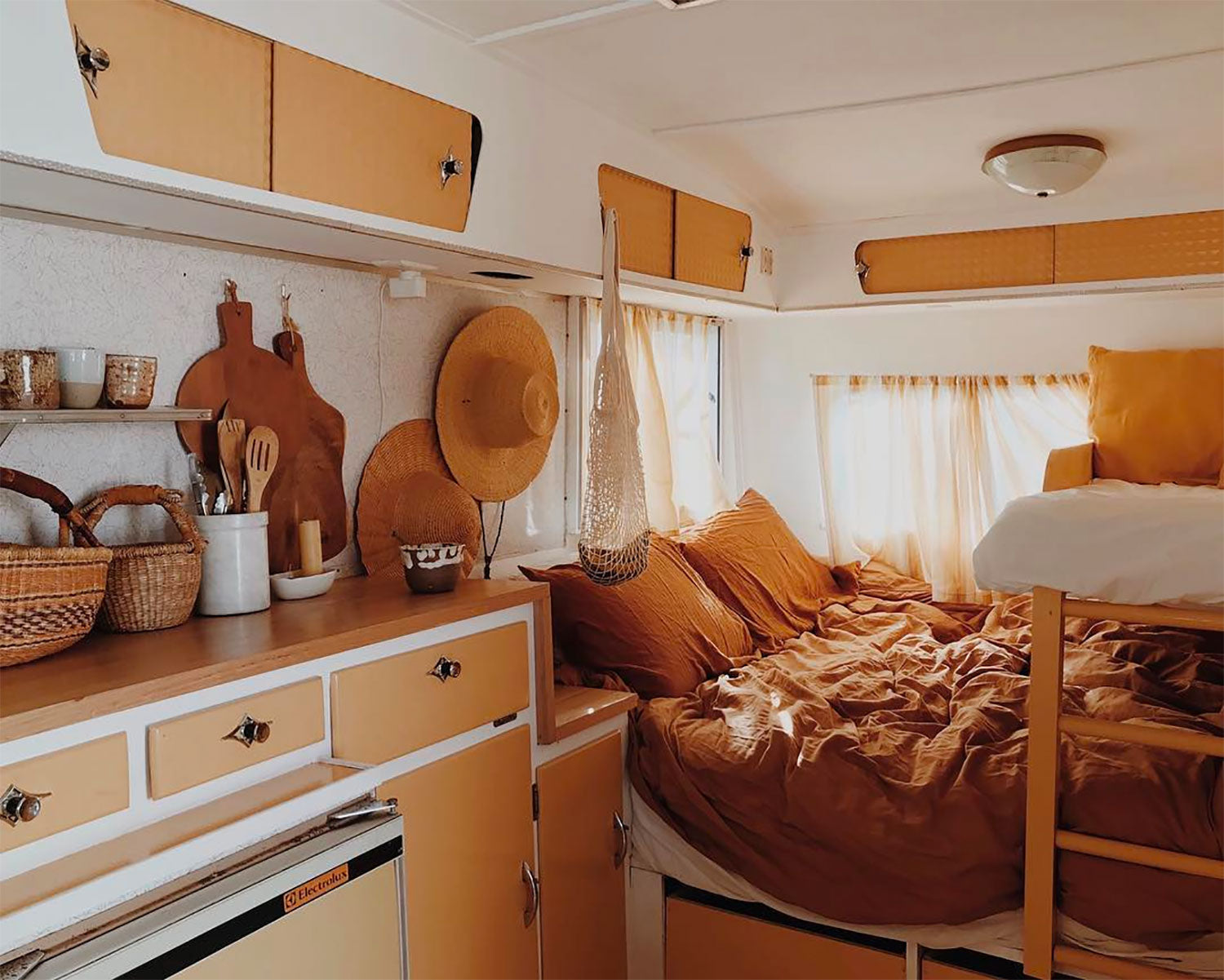 Inside a stylists caravan