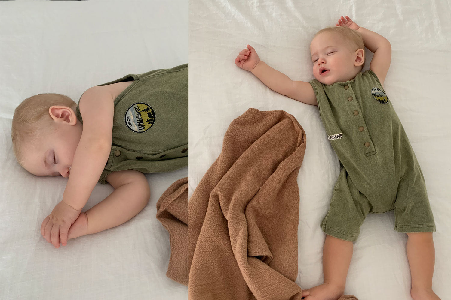 Sleepy Jett wears the Explorer Romper