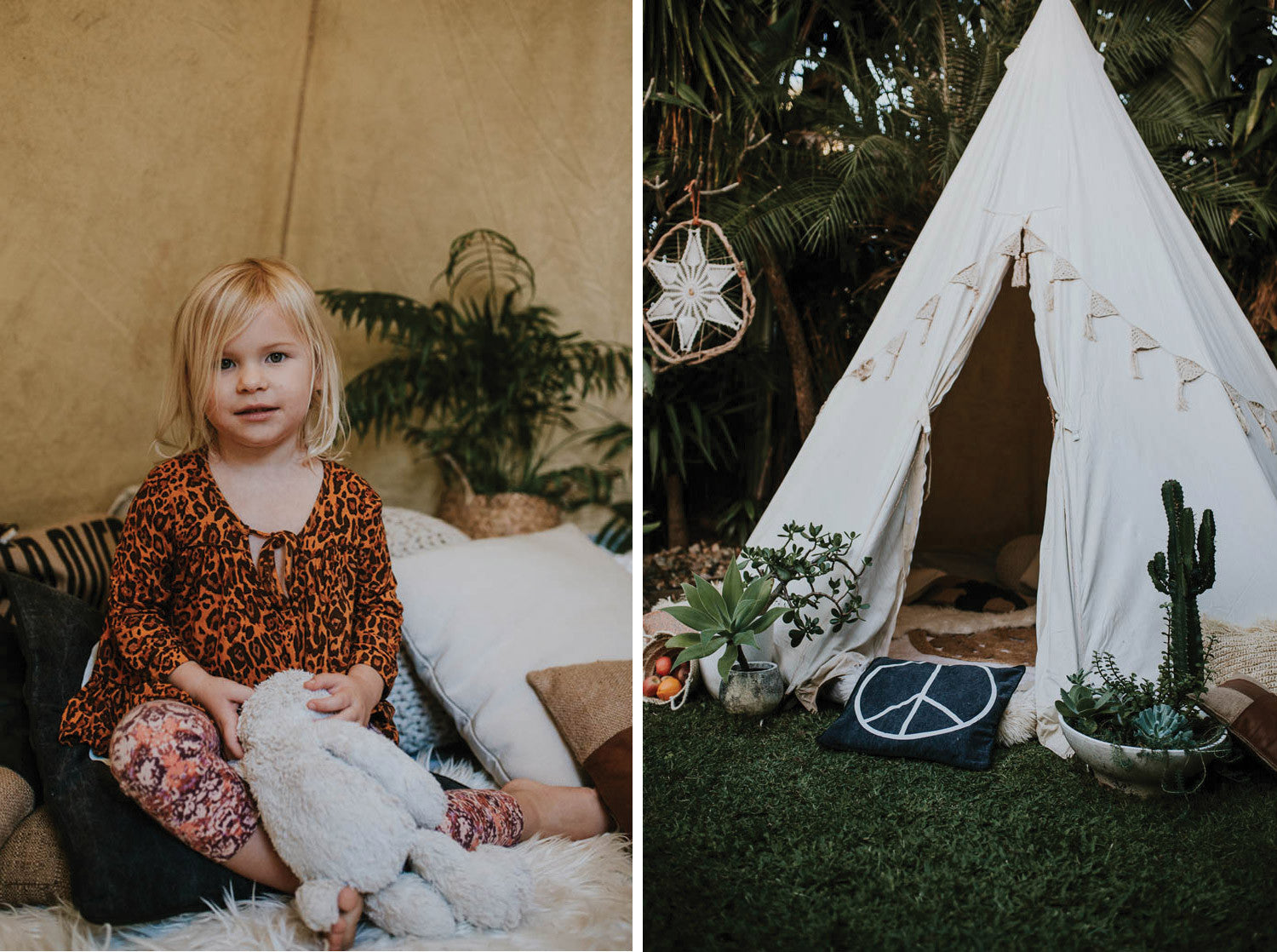 Coco in a teepee