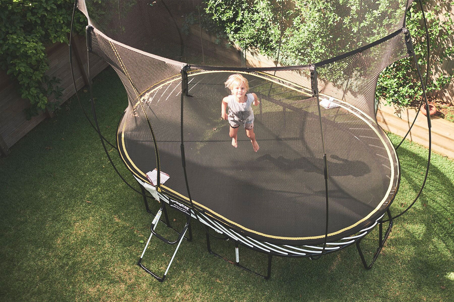 Springfree trampoline seen from above