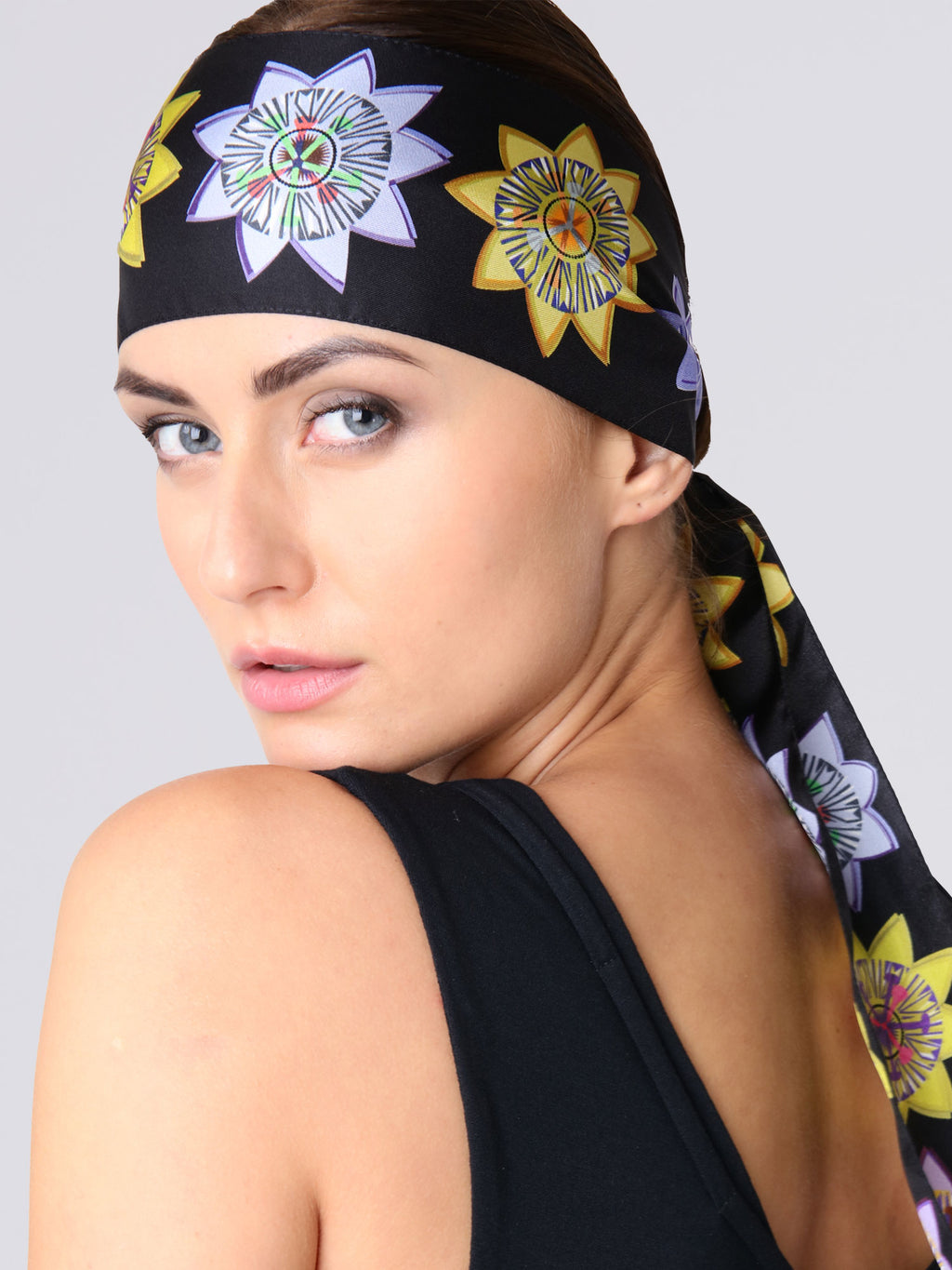 Model wearing Passion Floral Silk Scarf - Skinny