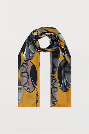 Ochre Beads Silk Scarf - Oblong