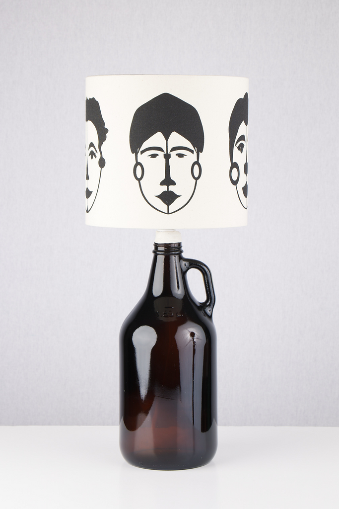 Abstract Female Faces Print Bottle Lampshade 18cm High 1