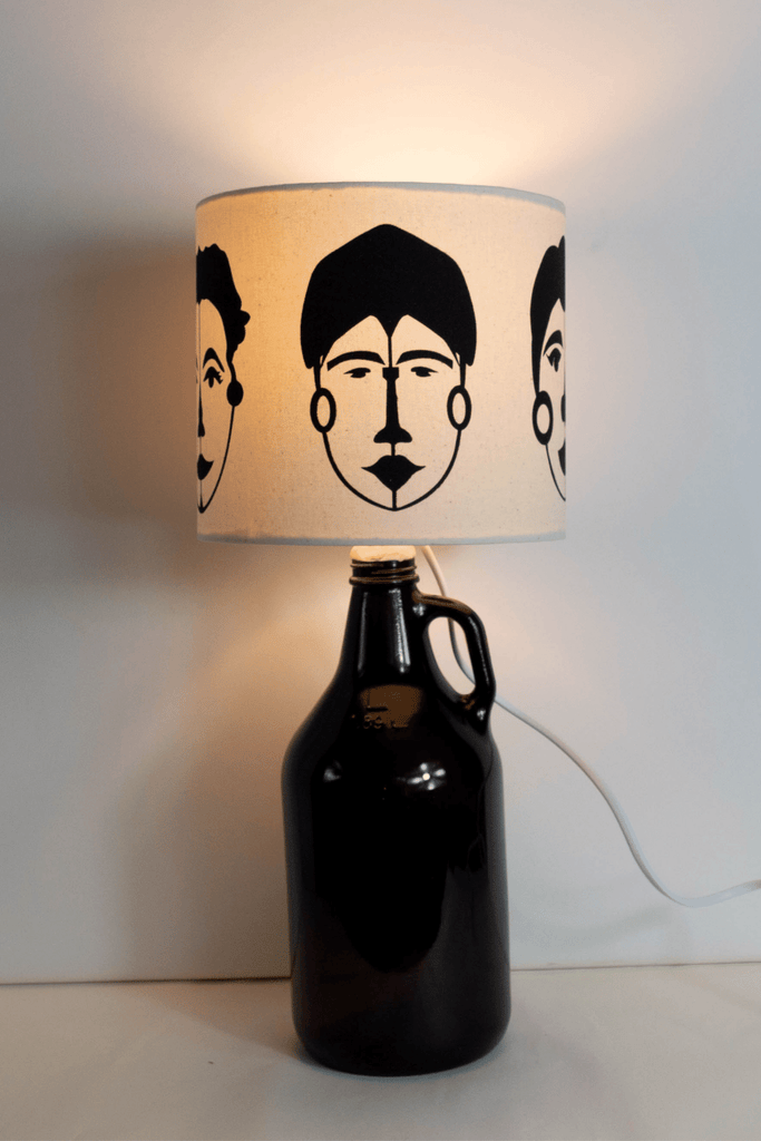 Abstract Female Faces Print Bottle Lampshade 18cm High 3
