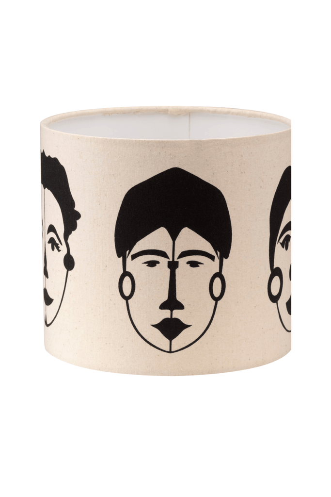 Abstract Female Faces Print Bottle Lampshade 18cm High 5