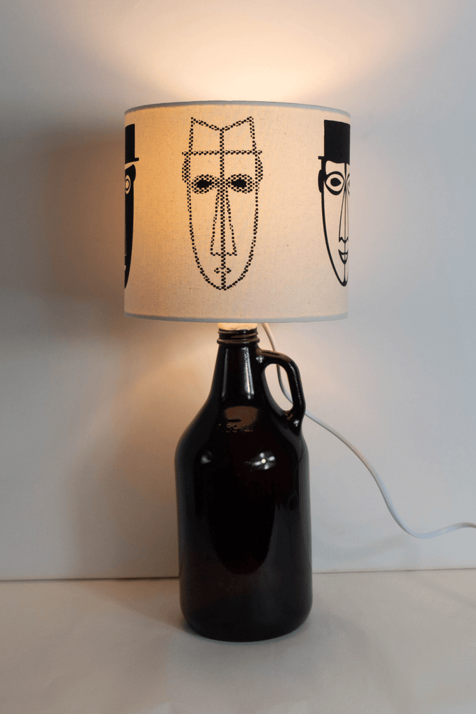 Abstract Male Faces Print Bottle Lampshade 18cm High 3