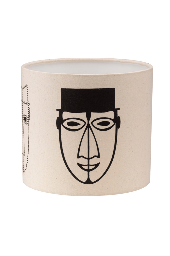 Abstract Male Faces Print Bottle Lampshade 18cm High 4