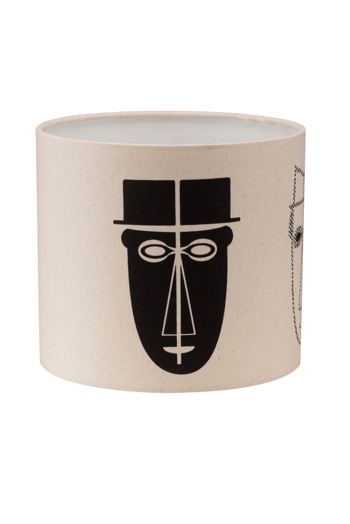 Abstract Male Faces Print Bottle Lampshade  18cm High 5