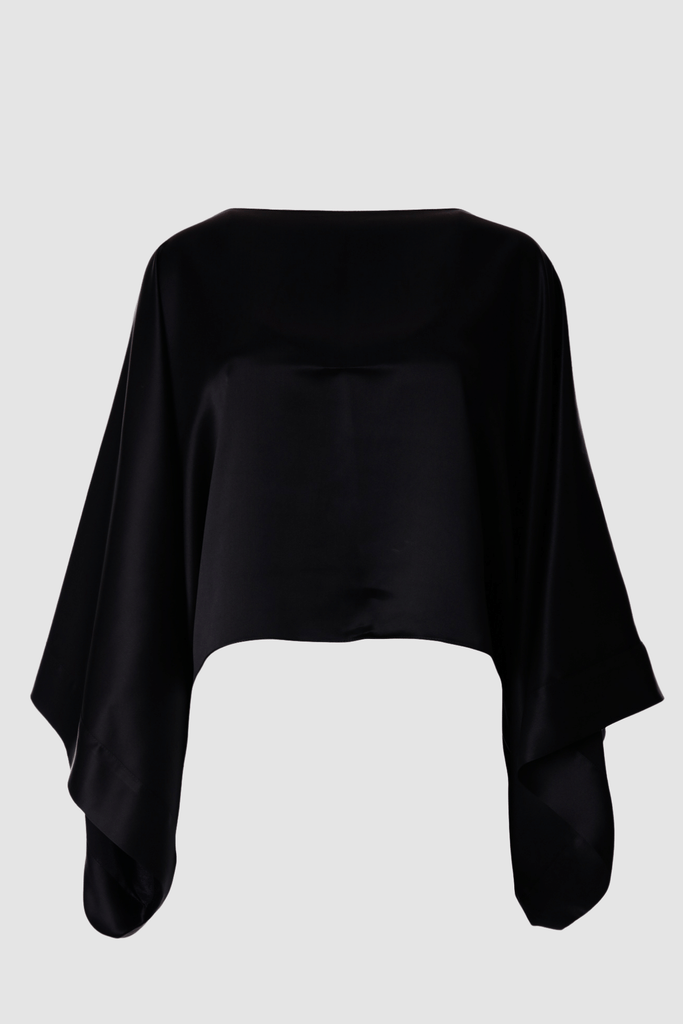 Kimono Sleeve Top Black Twill Product Front