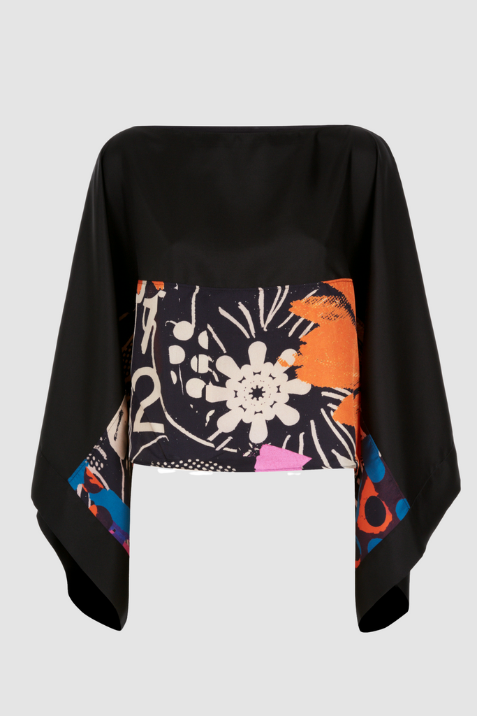 Kimono Sleeve Top Orange Flowers Product Front.