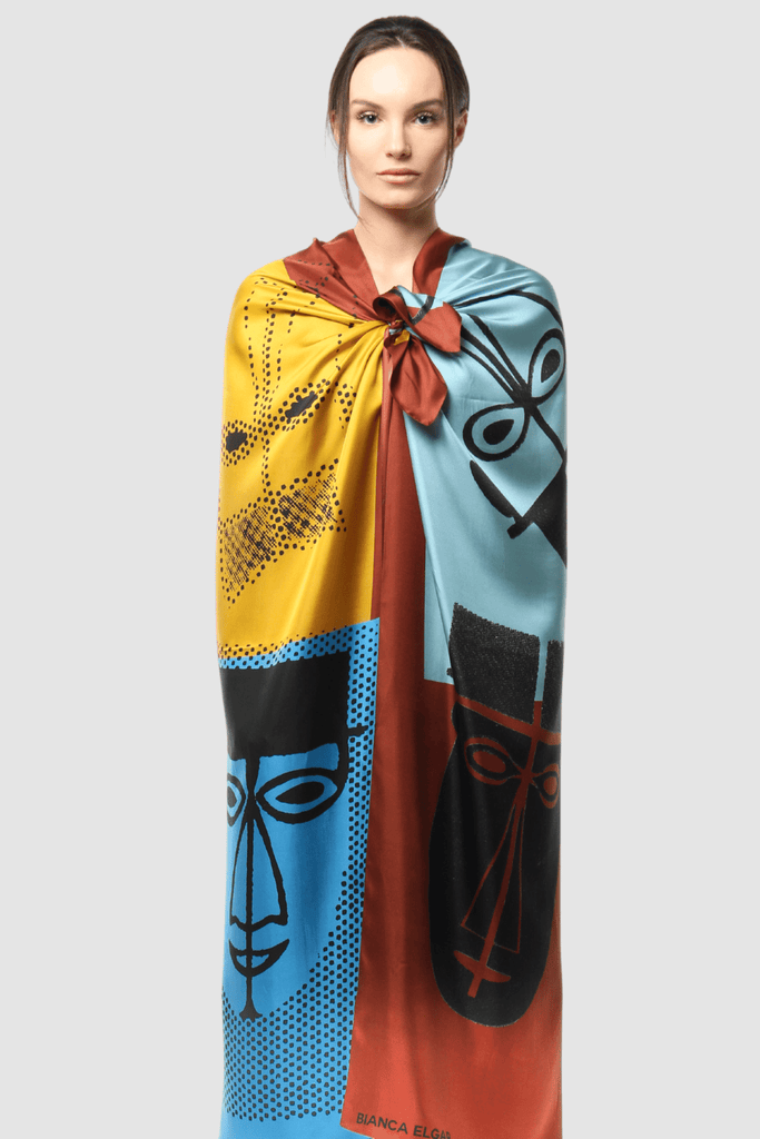 Large Scarf Abstract Male Faces Print Model 1
