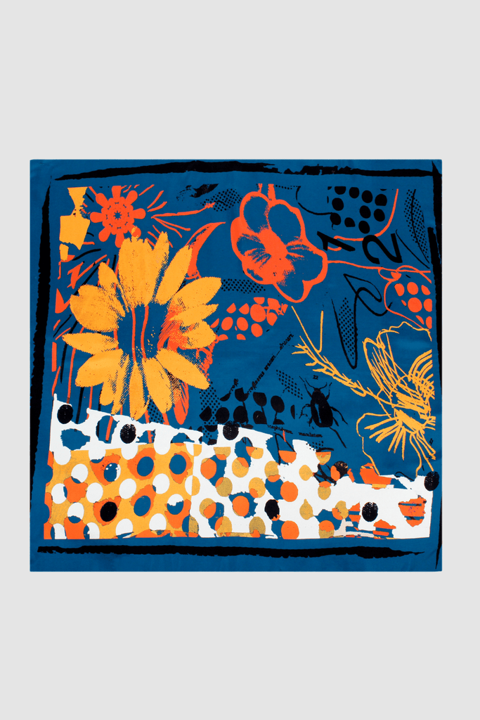 Medium Scarf Orange Flowers Blue Based Product