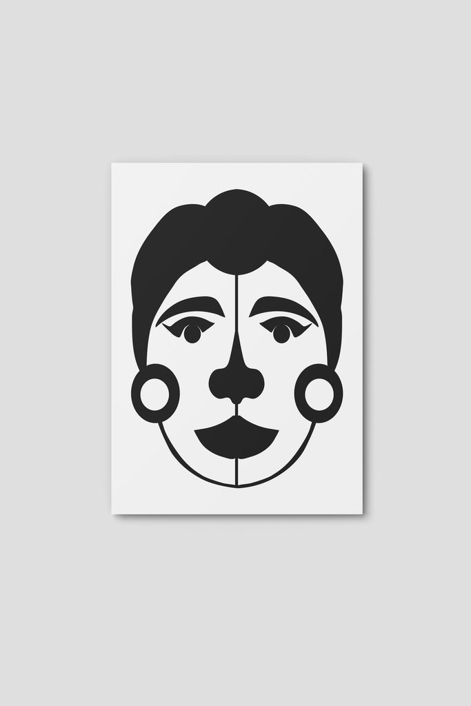 Notecard, Female Face Print2