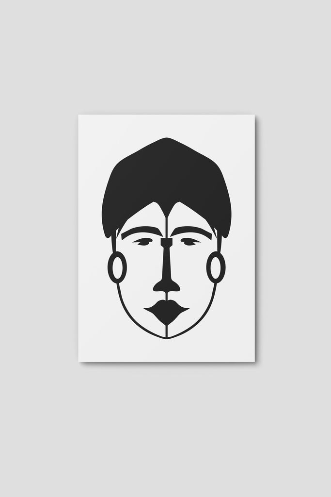 Notecard, Female Face Print3