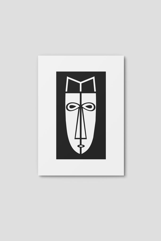 Notecard, Male Face Print 1,