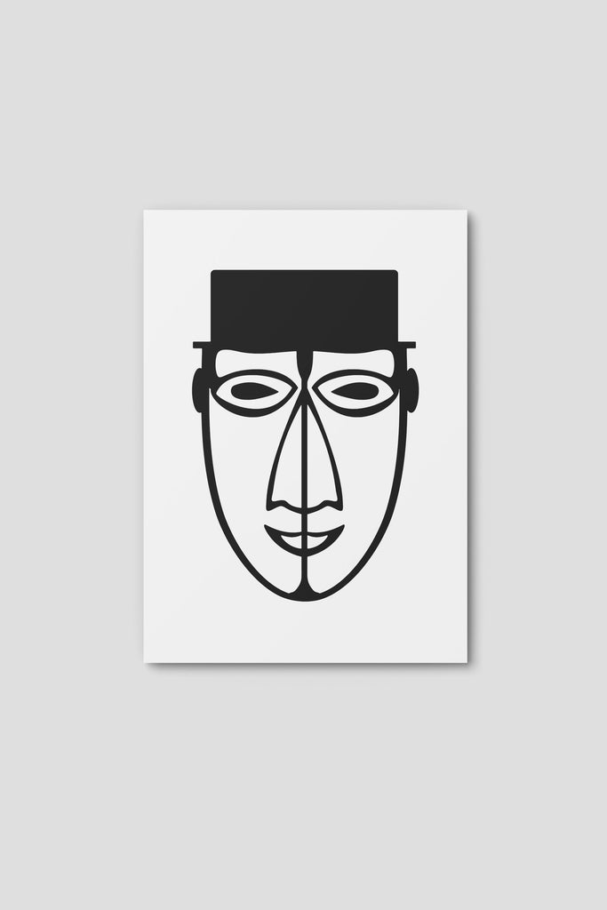 Notecard, Male Face Print 2