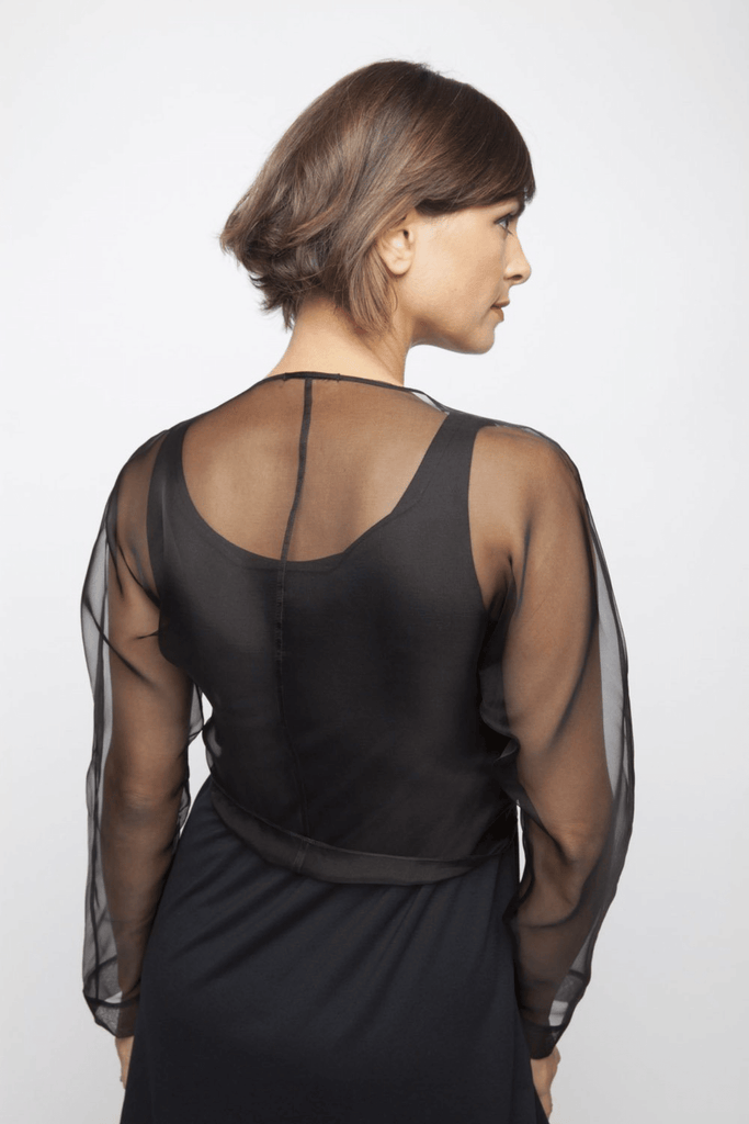 Tie Wrap Top Black Organza On Model Back View
