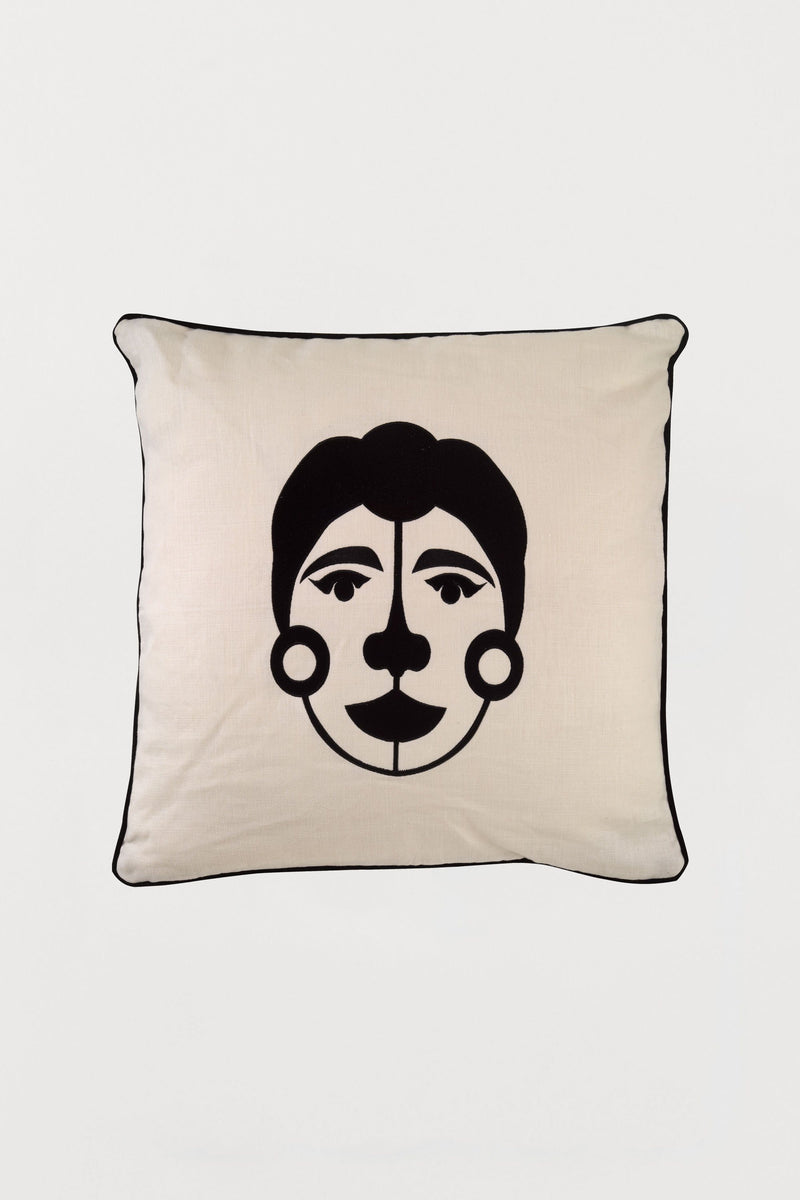 Embroidered Cushion African Mask Woman C - Bianca Elgar